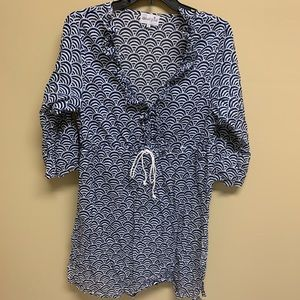 Mud Pie Ruffled V-Neck Coverup. Navy and White. L